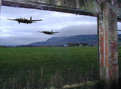 Two welligton bombers over the old Limavady airfield in Aghanloo