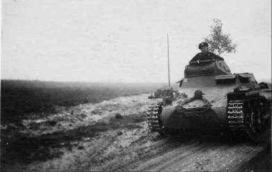Tank on a road in Russia